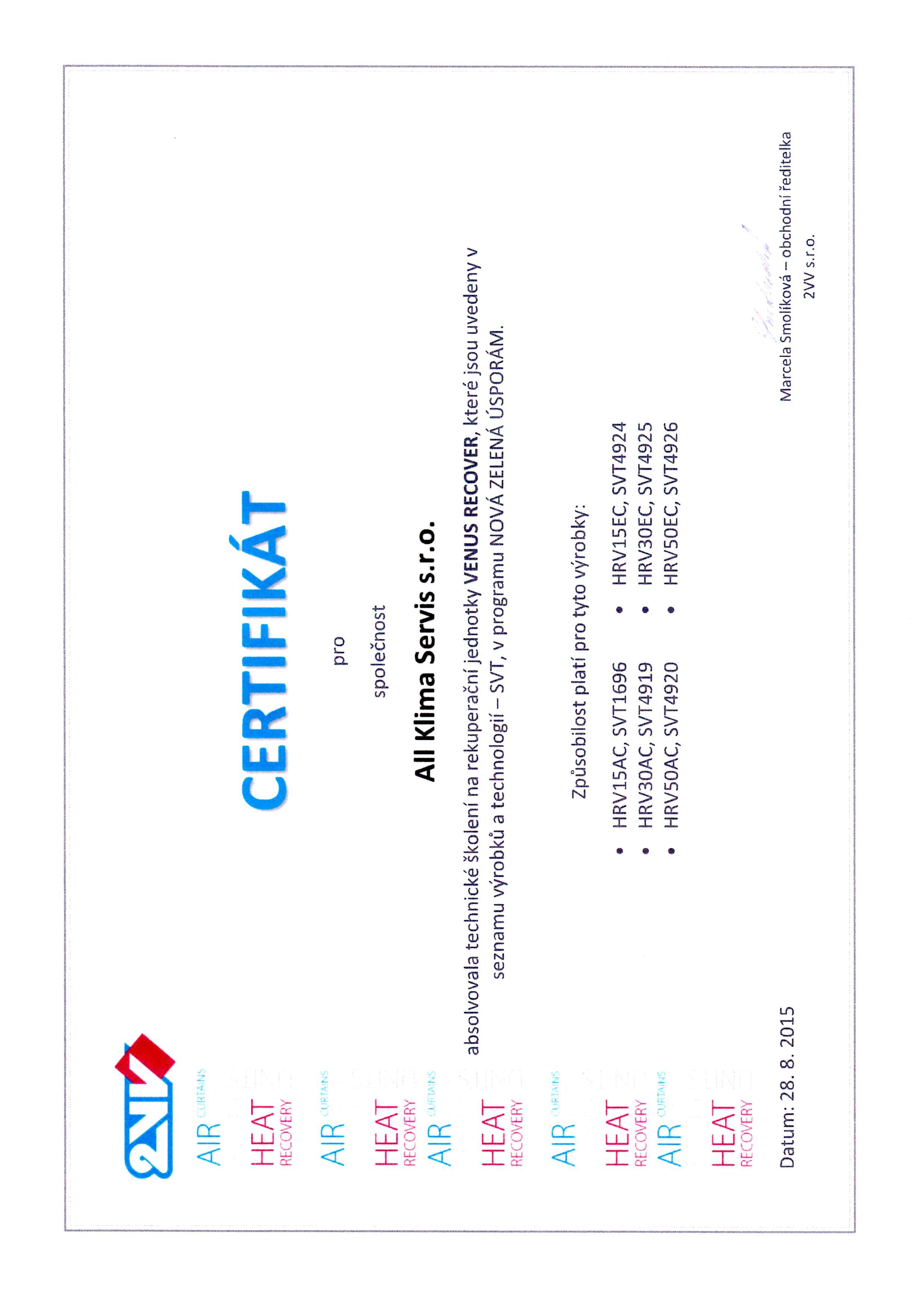 Certifikát firmy 2VV pro jednotky VENUS RECOVER