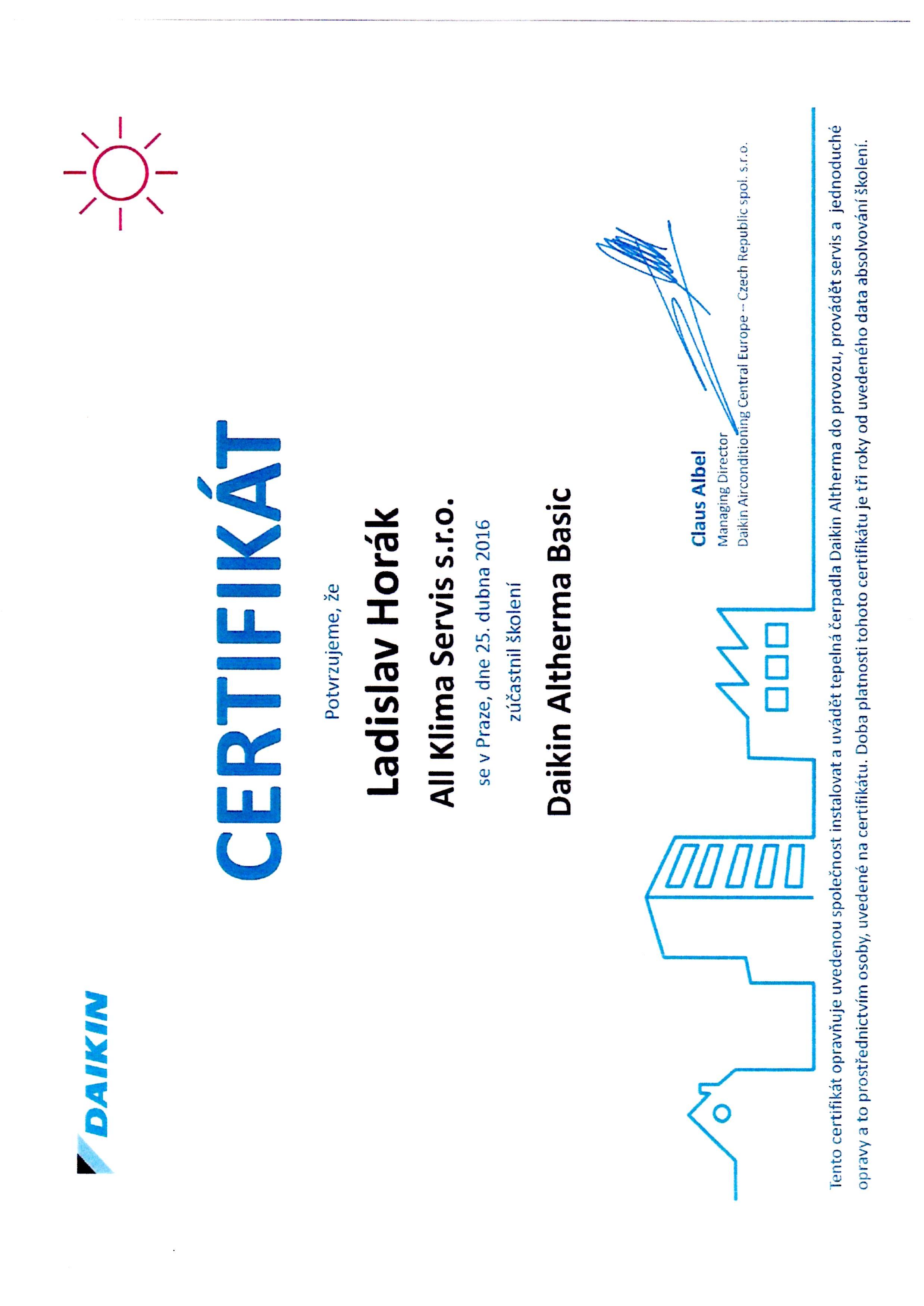 Certifikát Daikin ALTHERMA BASIC