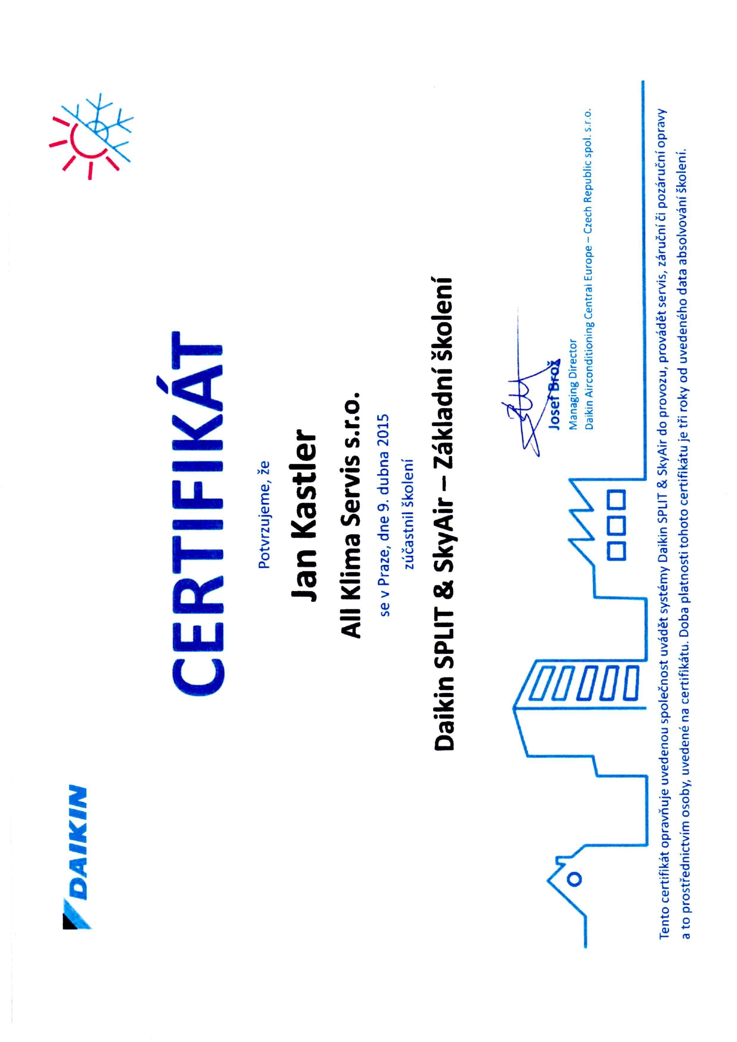 Certifikát Daikin SPLIT a SkyAir