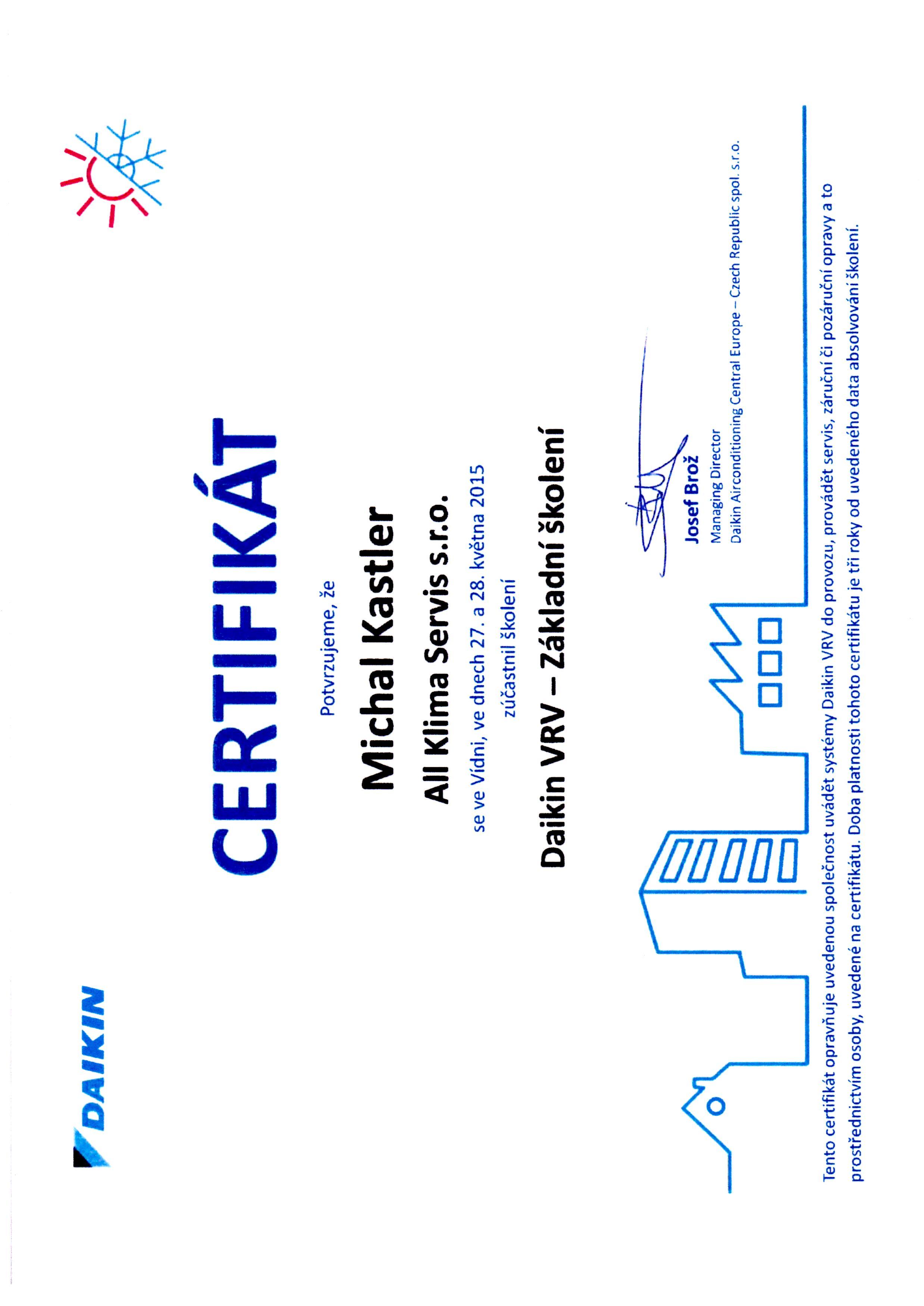 Certifikát Daikin VRV4