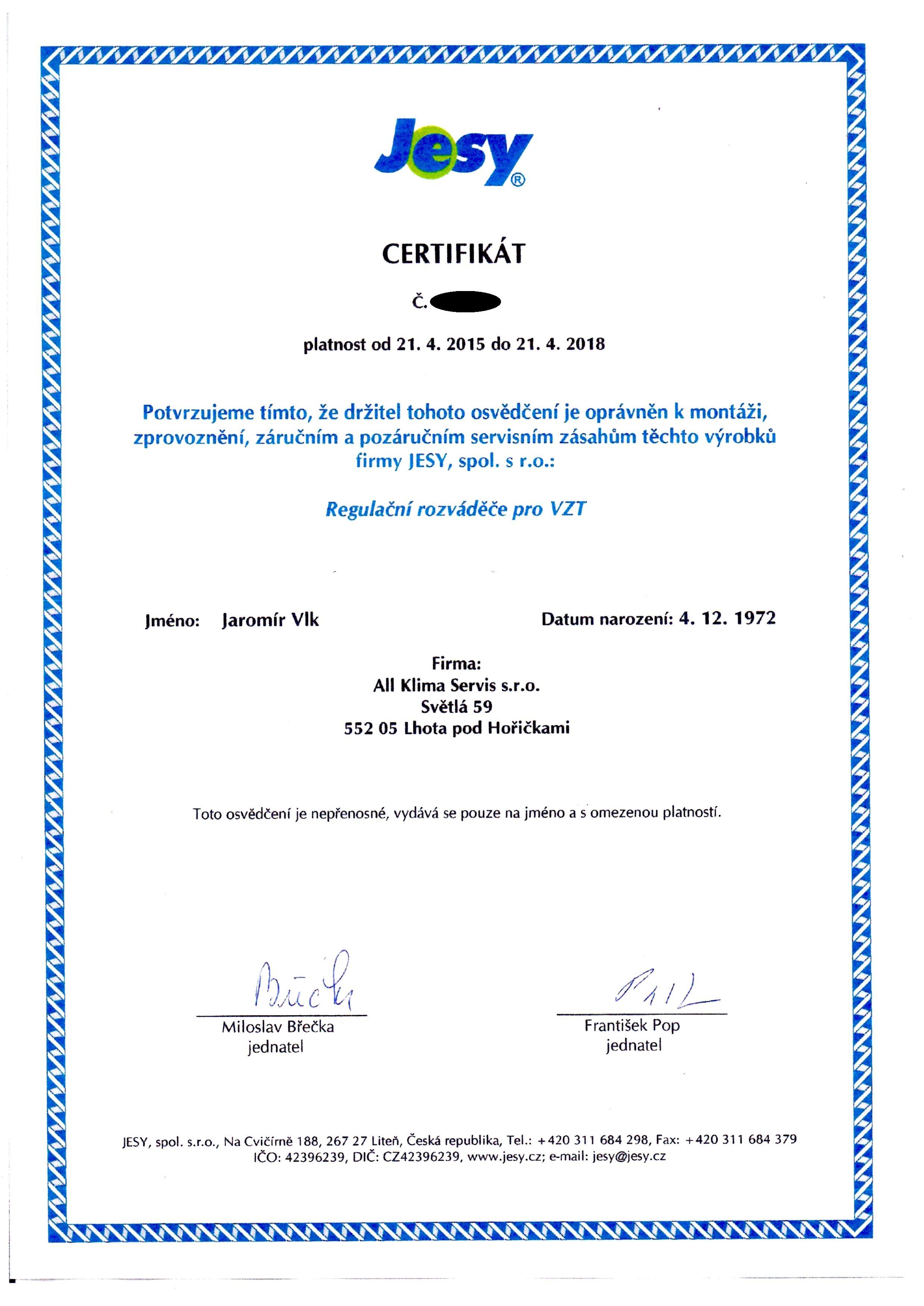 Certifikát JESY, spol. s r.o.