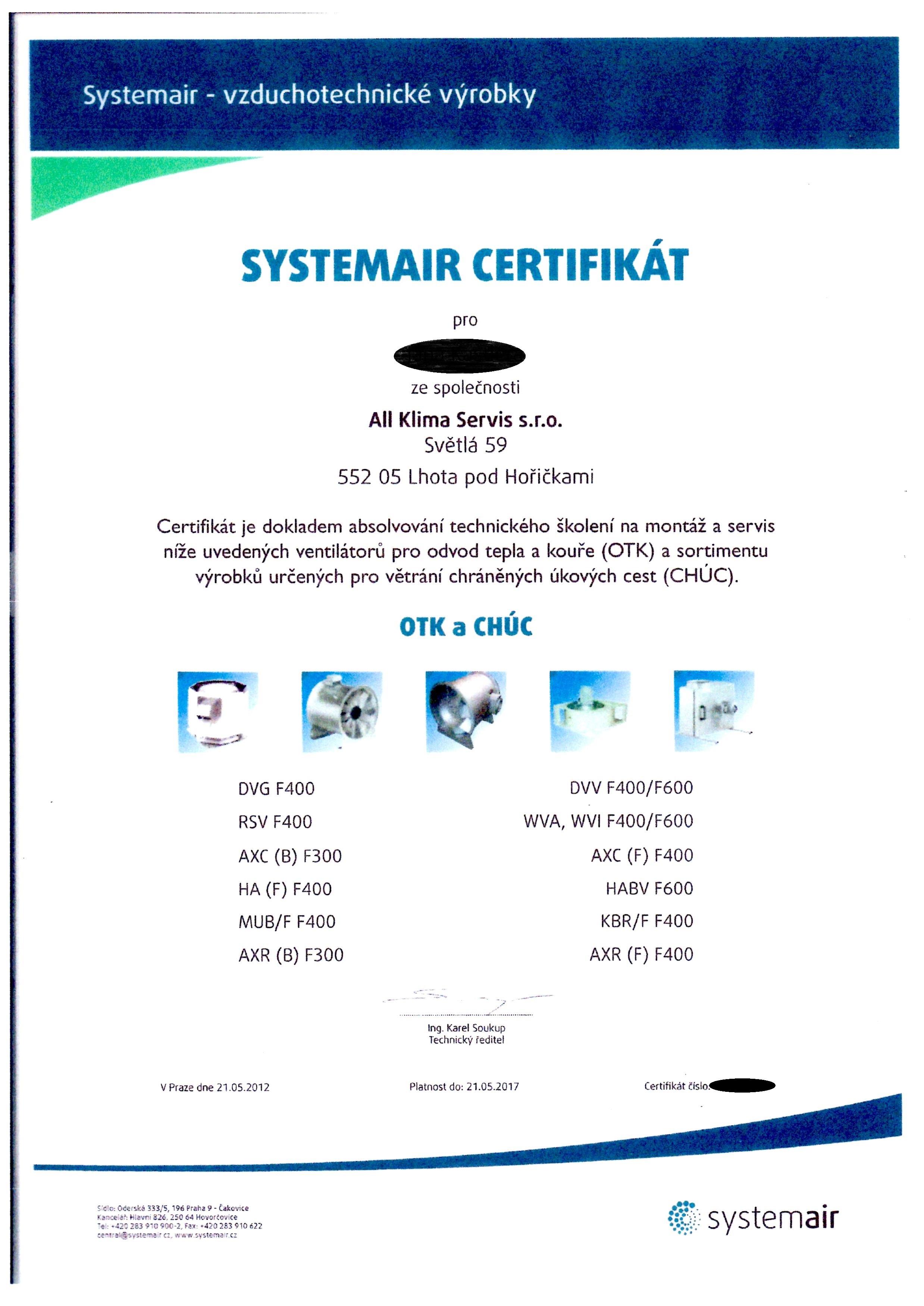 Certifikát pro montáž a servis OTK a CHÚC