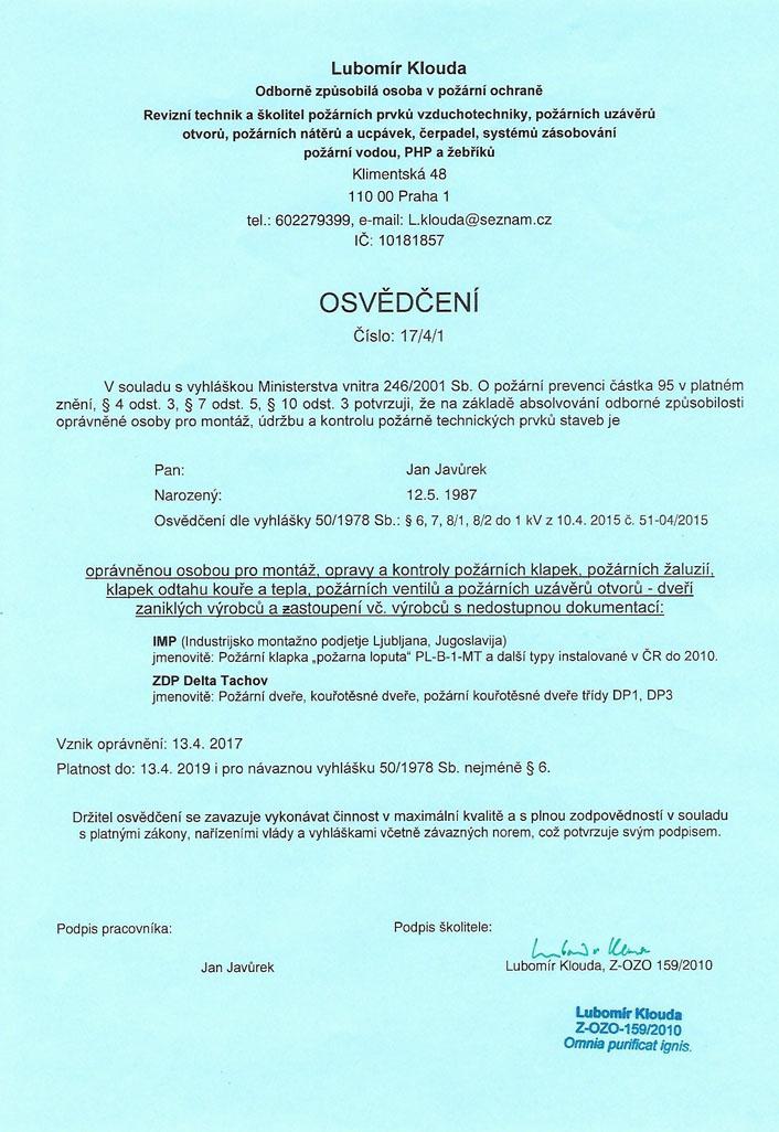 Osvědčení IMP a ZDP Delta Tachov