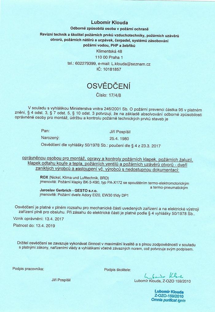 osvědčení ROX a Jaroslav Gerbrich - GESTO s.r.o.