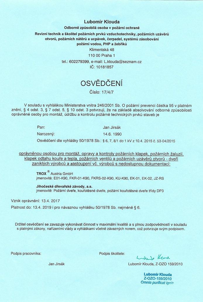 Osvědčení TROX a Jihočeské dřevařské závody, a.s.