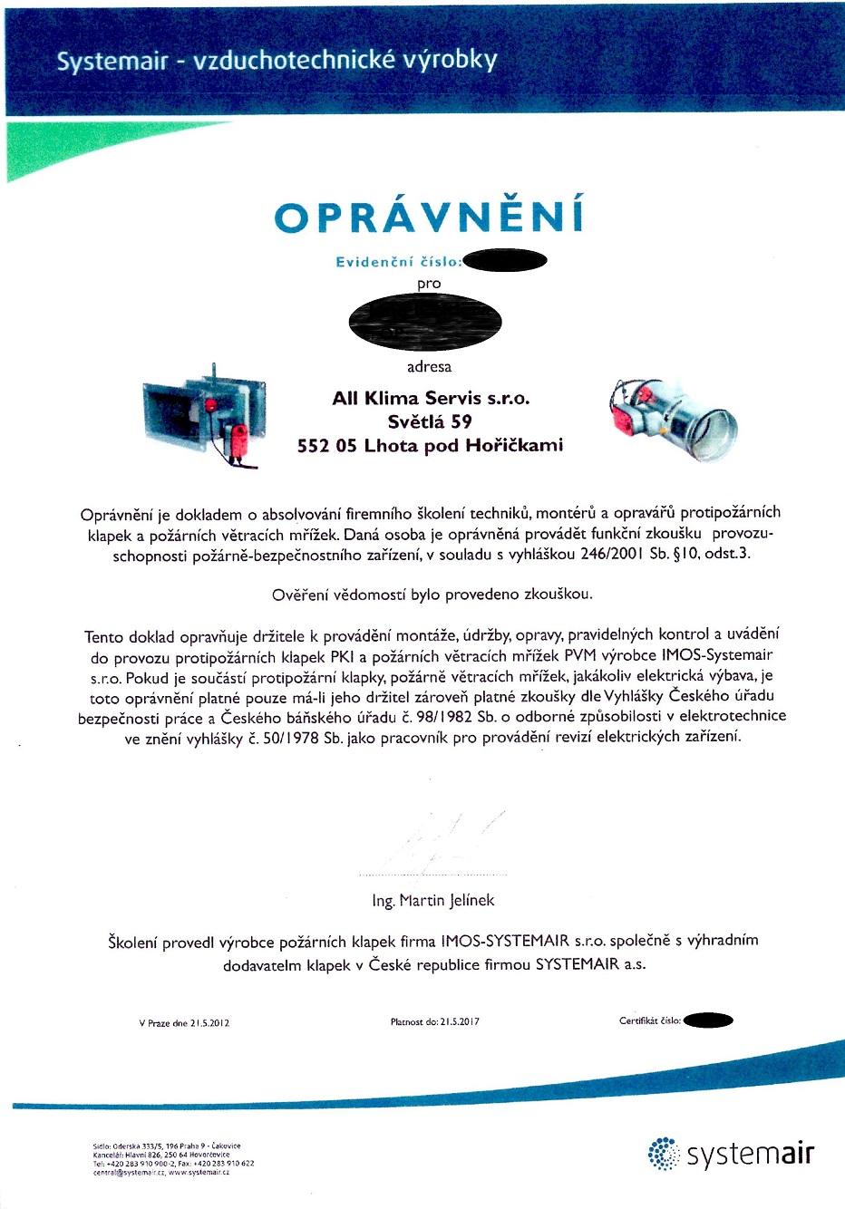 PKl a PVM IMOS-Systemair s.r.o.