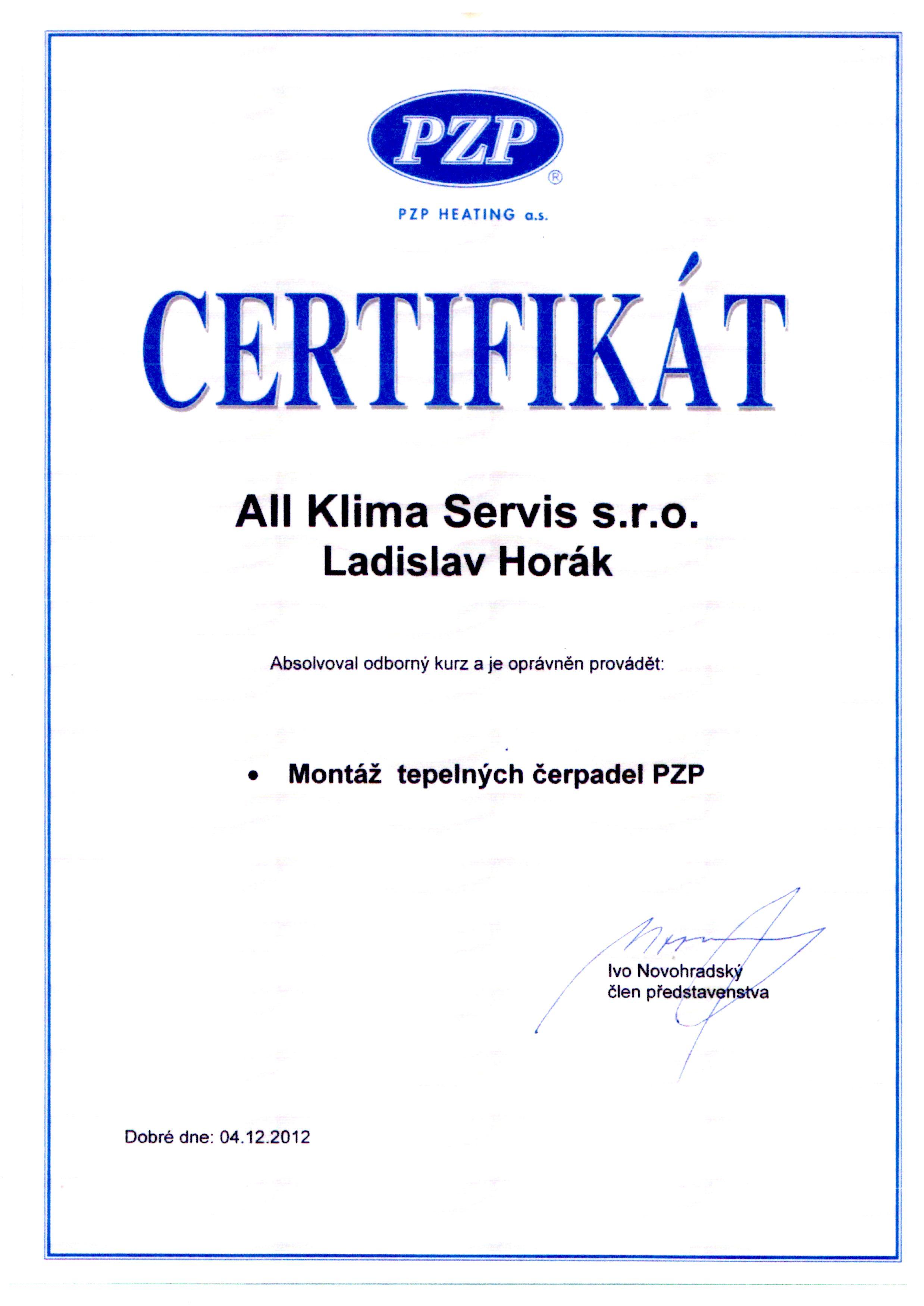 Certifikát PZP HEATING - tepelná čerpadla