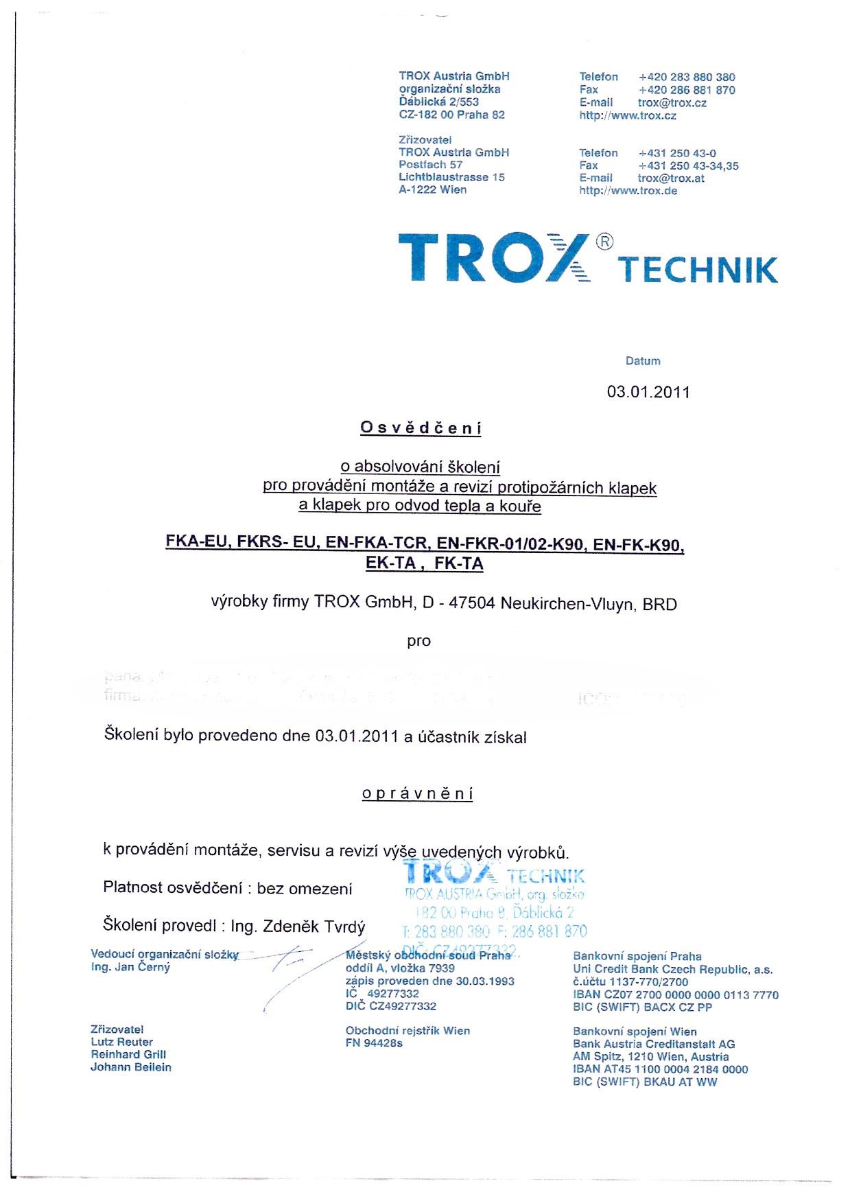 Oprávnění pro montáž, servis a revize zde uvedených výrobků TROX