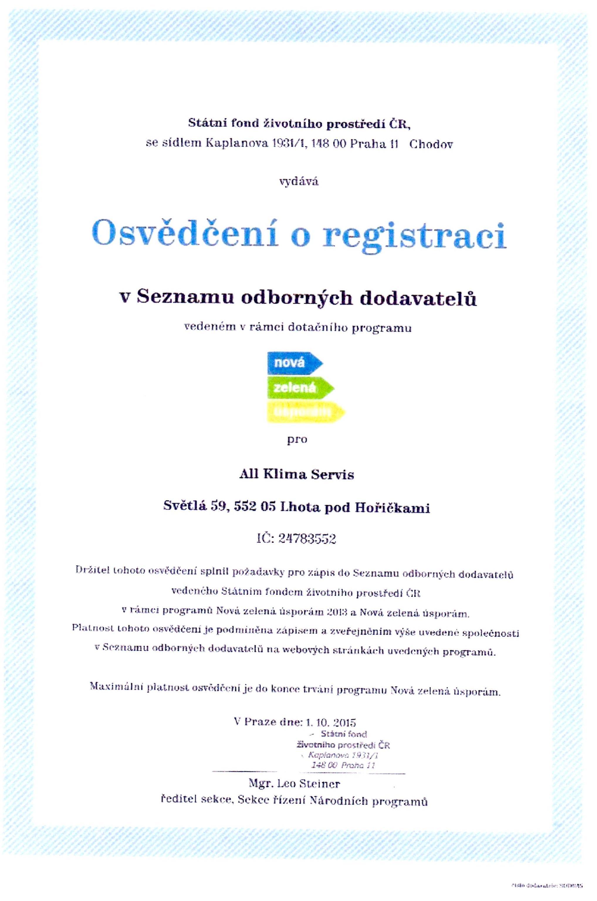 Certifikát nová zelená úsporám